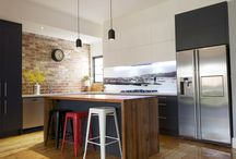 Industrial Influenced Kitchens / Mixed textures, recycled timbers, stone, brick