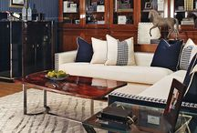 Interiors * Navy blue, cream & wood insp.