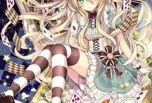Fille anime Alice au pays des merveilles