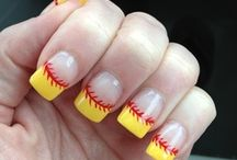 Baseball Nails / These baseball nails may inspire us to get crazy with our polish at Danville Dans games!
