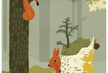 Illustration : : forest / Illustrations of woods, woodlands, forest animals, trees and lanscapes.