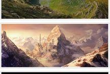 ゲーム・アニメ・漫画 背景 風景 / ゲーム、アニメ、漫画など 背景グラフィック イラスト 建物