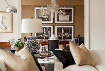 HOUSE: Transitional Living Rooms / These are examples of wonderfully designed transitional living rooms.  Classic styles of furniture mixed with modern fabrics and touches of rustic or antique.