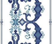 All Blue Cross Stitch / Shades of blue cross stitch patterns / by Pinoy Stitch