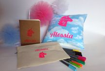 Personalise / Personalise with a name on cushions, notebooks .....