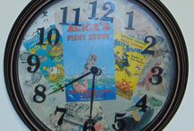 Upcycled book pages clock face decoupage DIY project / I found a great book on Walt Disney but the cover was ruined I wanted to salvage the great images inside so I made a decoupage on the clock face which was very easy to do