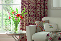 Kashmir (collection) / A classic crewel embroidery collection produced on a rustic linen ground, creating an interesting surface texture. Ethnically inspired floral trails are teamed with bold geometrics in contemporary shades of Spice, Summer and Mineral.