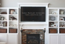 Living room / Fireplace, small space, built in shelves ....TV above fireplace