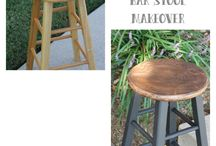 Kitchen Stools Wooden Makeover