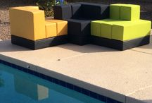 Outdoor / Cellular by Oi furniture set up in outdoor environments. Poolside, decks, patios are all great places for modular furniture.