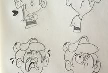 Sketches / Character design, cartoon expressions sketch, line sketches