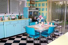 Design Ideas for AR's Kitchen / A friend recently asked me to help decorate their kitchen that has mint green tiles so I am hoping I can find some cool ideas for curtains, table cloths, kitchen accessories etc..
