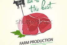 Food illustration. Farm Production / Different illustrations of farm food and drink. Meat, lard, milk and etc.