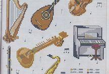 Gráfico ponto cruz -Instrumentos musicais