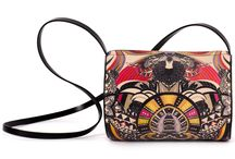 Horizontal Tube - Vision Of A Temple / Women Leather Handbags, Limited Edition Designer Leather Bag COLOURS OF MY LIFE - Limited Edition wearable art signed by Anca Stefanescu.