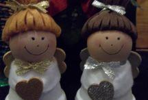 Natale con vasetti in terracotta
