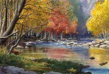 Mountain scene water painting