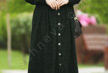Pileli Pıtırcık Pardesü - Yeşil / tesettür giyim, pardesü, pileli pardesü