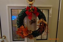 Handmade Christmas wreath recycling.
