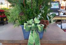 We Do Christmas Right! / Our fresh greens winter planters that are designed right here on our farm! A perfect, and beautiful, porch decoration!