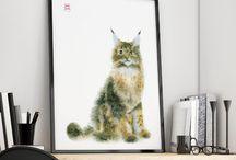watercolor cats / watercolor cats art by Mari Lova