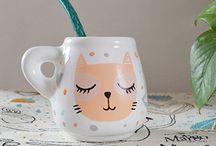 tazas de cerámica pintadas