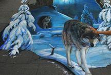 Mom's chalk and sidewalk art
