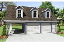 Garage Plans with Carports / Detached Garage Plans with an Attached Carport