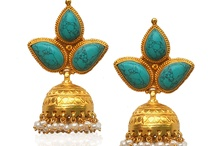 Gold earrings / Turquoise