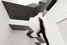 staircase white black
