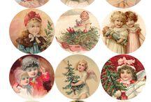 christmas vintage tags