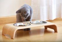 Gamelle double pour chat CatBar Chêne clair by MiaCara