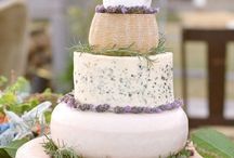 Cheese Wedding Cakes / An emerging trend within the cheese industry. Instead of a traditional wedding cake, a tower of different types of cheese wheels is served instead. How innovative!