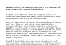Internal Memo From Uber's Chief, Travis Kalanick