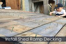How to Build a Shed Ramp - Steps / DIY instructions about building a wooden shed ramp for a storage shed, garden shed, backyard shed. Step by step guide with illustrations. Ramp ledger board, ramp stringers, ramp decking.