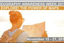 """Geography Awareness Week 2015 / This year's GAW theme is """"Explore! The Power of Maps!"""" Spatial thinking through maps is one of the most important skills that students can develop as they learn geography, Earth and environmental sciences, and so much more. We encourage everyone to get involved and help promote geo-literacy--not just during Geography Awareness Week, but every week throughout the entire year!"""