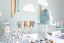 """Birthday """"In the clouds"""" / Ideas of decorations for the second birthday of my daughter The theme is """"In the clouds""""  Idées de décorations pour le deuxième anniversaire de ma fille Le thème est """"Dans les nuages"""""""