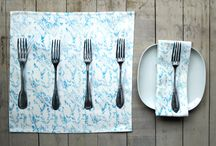 my printed table linens / printed table top accessories, table runners, napkins, placemats. Contemporary, quirky table linen, beautiful quality pieces made to last a lifetime