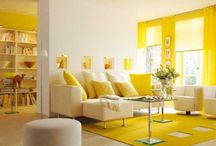 YELLOW ROOM / Yellow enhances concentration, articulation and communication.  Hence its use for legal pads. Yellow is the most difficult color for the eye to take in, so it can be overpowering if overused.  It is known for enhancing intelligence and mental agility.   / by Marnie Fuchs Martin