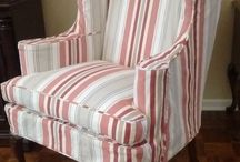 Barb's Awning Stripe Slipcovers / You don't have to live in a cottage to enjoy cottage-y slipcovers!  I used washed cotton canvas awning stripe fabrics to give these pieces a casual, relaxed update.