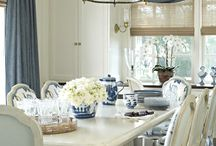 idea. . . blue white floral art print dining rm