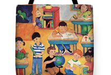 Colorful Unique Tote Bags / by Peggy Johnson ~Artist