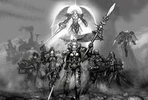 Sisters of Battle / The Sisters of Battle, also known as the Adepta Sororitas, are an all-female army of warrior-nuns attached to the state church of the Imperium of Man. They focus on hunting and destroying heretics, often working alongside members of the Inquisition. The heraldic symbol of the Adepta Sororitas is the Fleur-de-lis.