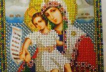 Богородица Милующая (Достойно есть) / Икона вышита бисером мною в 2014 году
