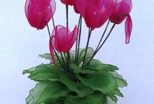 kwiaty z pończoch / prace ręczne...to najlepsza zabawa .....trening dla mózgu :)
