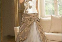 Svatební šaty - bílá/hnědá, krémová