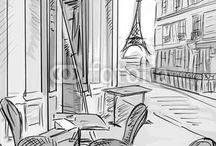 Chouettes croquis, dessins