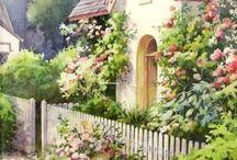 casitas con flores