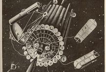 Space Station Concept Art / Ancestors of Salyut, Skylab, Mir, and ISS