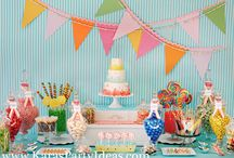"Candyland Party Ideas / Project Nursery, Frog Prince Paperie, Kara's Party Ideas, Petite Party Studio, and Anna and Blue Paperie teamed up to collaborate on a ""Candyland Birthday Party"" inspired pin board."